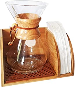 HEXNUB – Organizer Stand, Compatible with Chemex Coffee Makers, Fits Collar and Handle Carafes, Fits Bodum and Coffee Gator, Holds Coffee Maker and Filters, Silicone Dripper Mat, Compact (Brown)