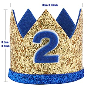 2 Birthday Crown Glitter 2nd Birthday Hats Party Hats for Baby Boys/Girls Smash Cake Photo Props Cat Dog Costumes 2 Birthday Hat