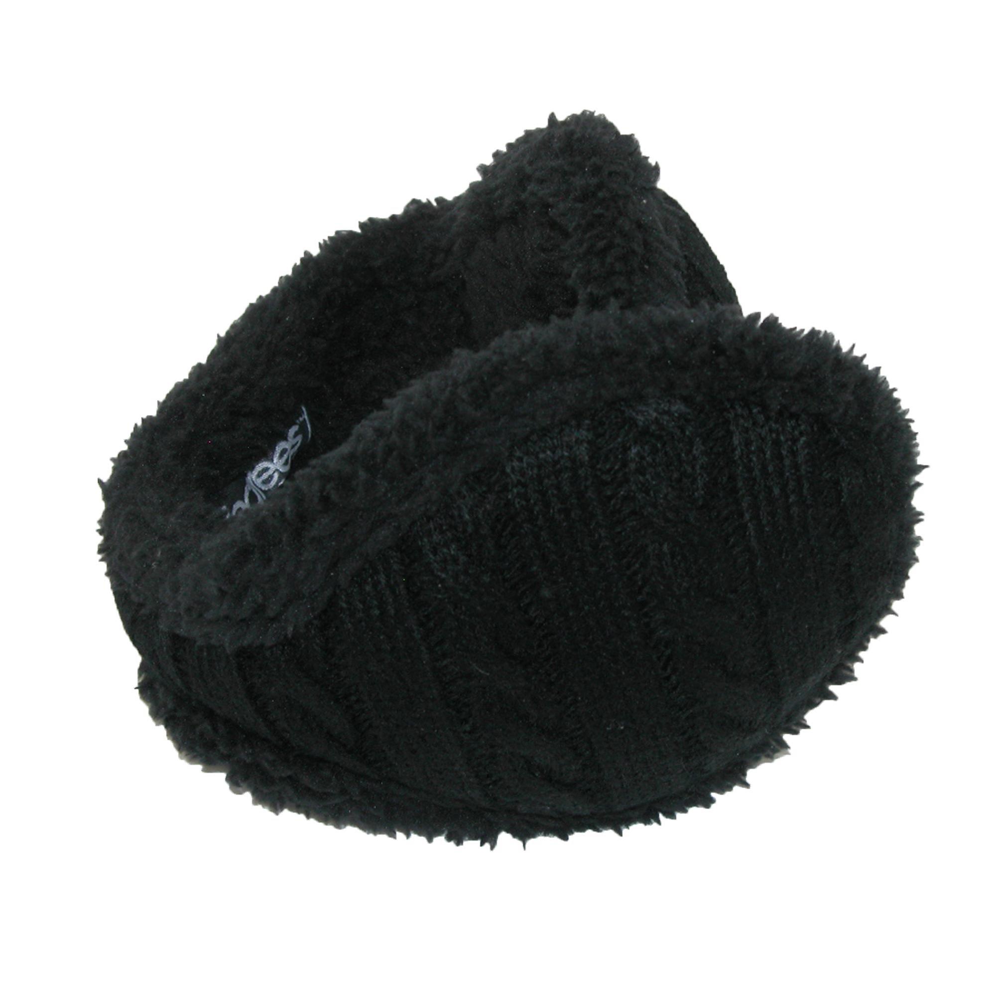 180s Women's Cable Knit Ear Warmers, Black