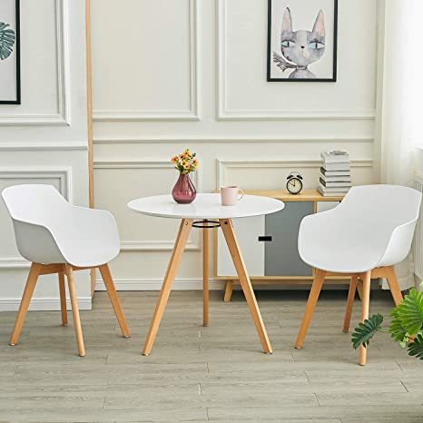 Liepu Round Dining Table Small Solid Wood Dining Table Kitchen Table Scandinavian Beech Legs Wooden Table 80 X 80 X 74 Cm White Amazon De Kuche Haushalt
