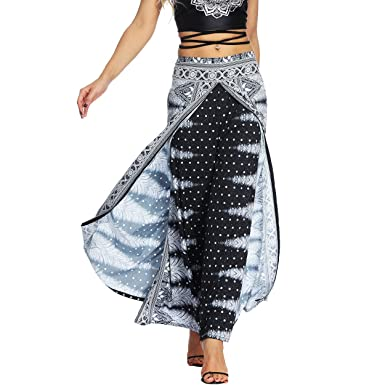 23ab5d9a2642e Nuofengkudu Women s Boho Thai Harem Palazzo Pants Hippie Gypsy Style  Vintage Ethnic Print High Waist Wide
