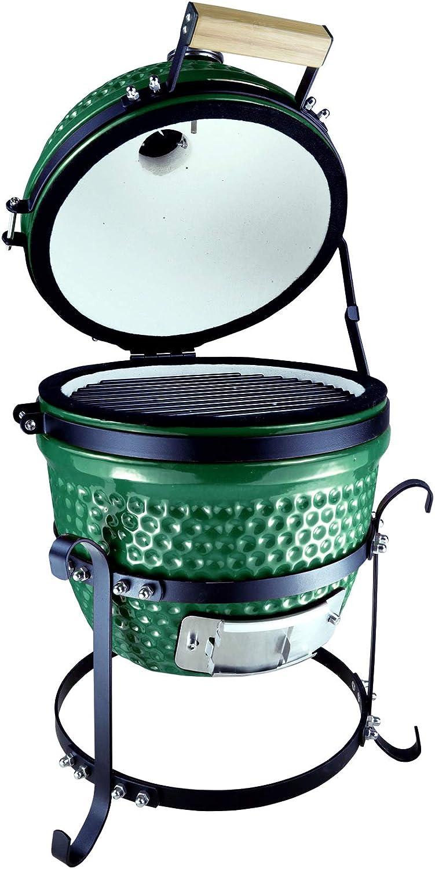 Outsunny Barbacoa Portátil de Sobremesa con Tapa Indicador de Temperatura Ventilación De Carbón 40.5x35x55 cm Verde
