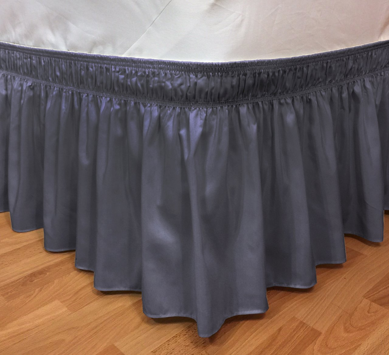 CT DISCOUNT STORE Elastic Ruffle Bed Skirt Easy Warp Around, Bed Skirt Pins Included By (Twin/Full, Navy)