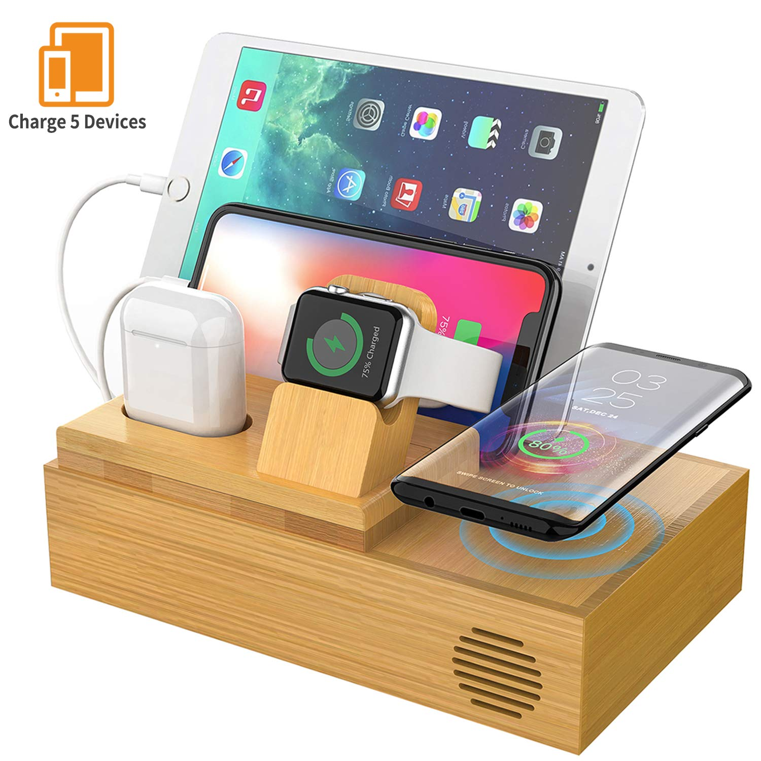 CHGeek Bamboo Wireless Charger-Charging-Station-for-Multiple-Devices, Charging Dock for Apple Watch, AirPods. -Wireless-Charging-Pad Organizer for iPhone, Tablets. Compatible iPhone X/XS/XR/Xs Max/8 by CHGeek