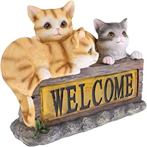 LOVIVER Garden Home Statue Lawn Ornaments - Set of 3pcs Cute Cats Statue with Welcome Sign & Solar Energy Lights - Housewarming Gift