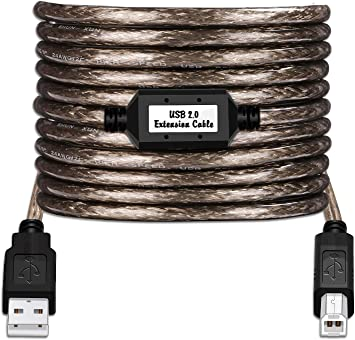 50ft USB 2.0 Extension /& 10ft A Male//B Male Cable for Canon USA INC Canon IPF605 24IN Printer
