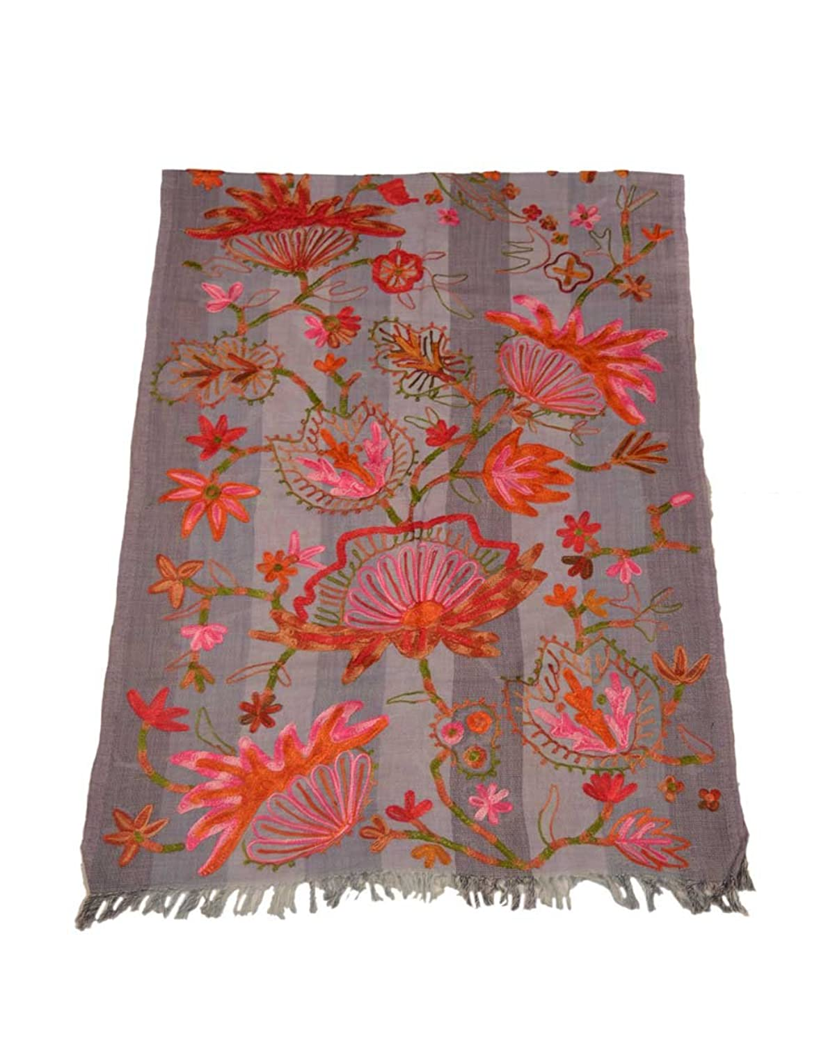 The Scarf Hut Women's Grey Base Accessories Floral Embroidery Wool Scarf.
