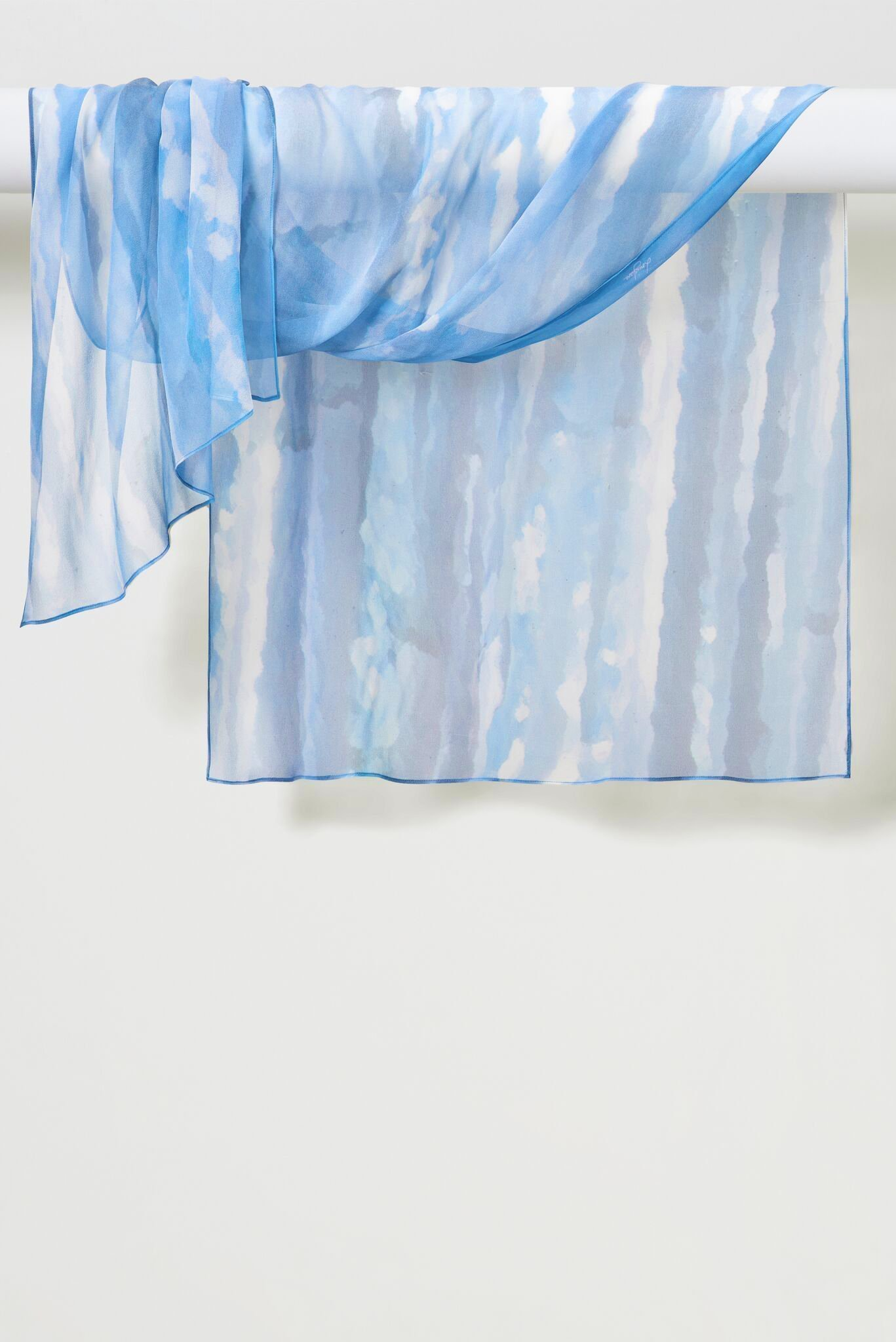 Two-Color Light Sprays Pure Silk Chiffon Shawl in Blue