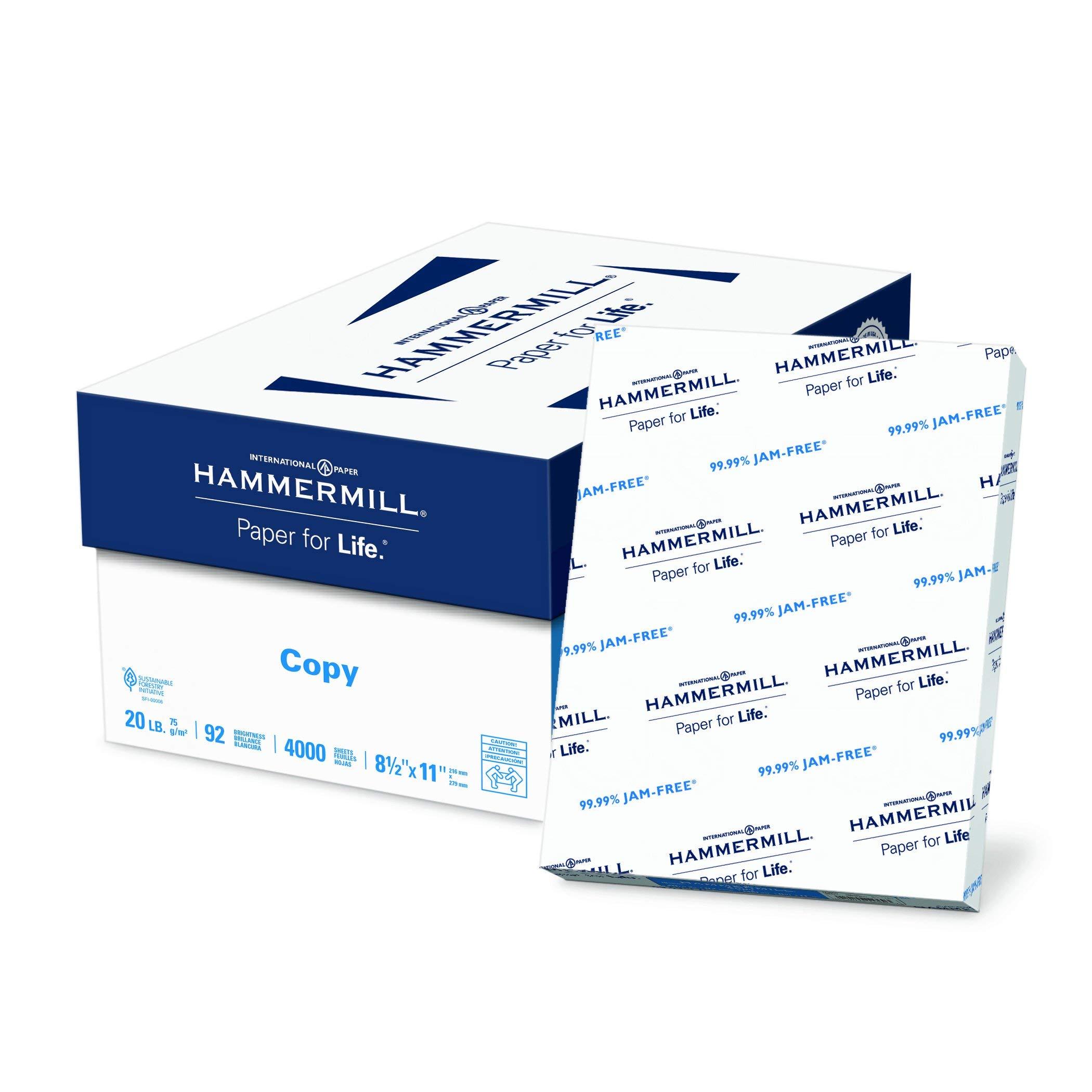 Hammermill Paper, Copy Paper, 8.5 x 11 Paper, Letter Size, 20lb Paper, 92 Bright, 8 Ream Case / 4,000 Sheets (113640C) Acid Free Paper (Renewed)