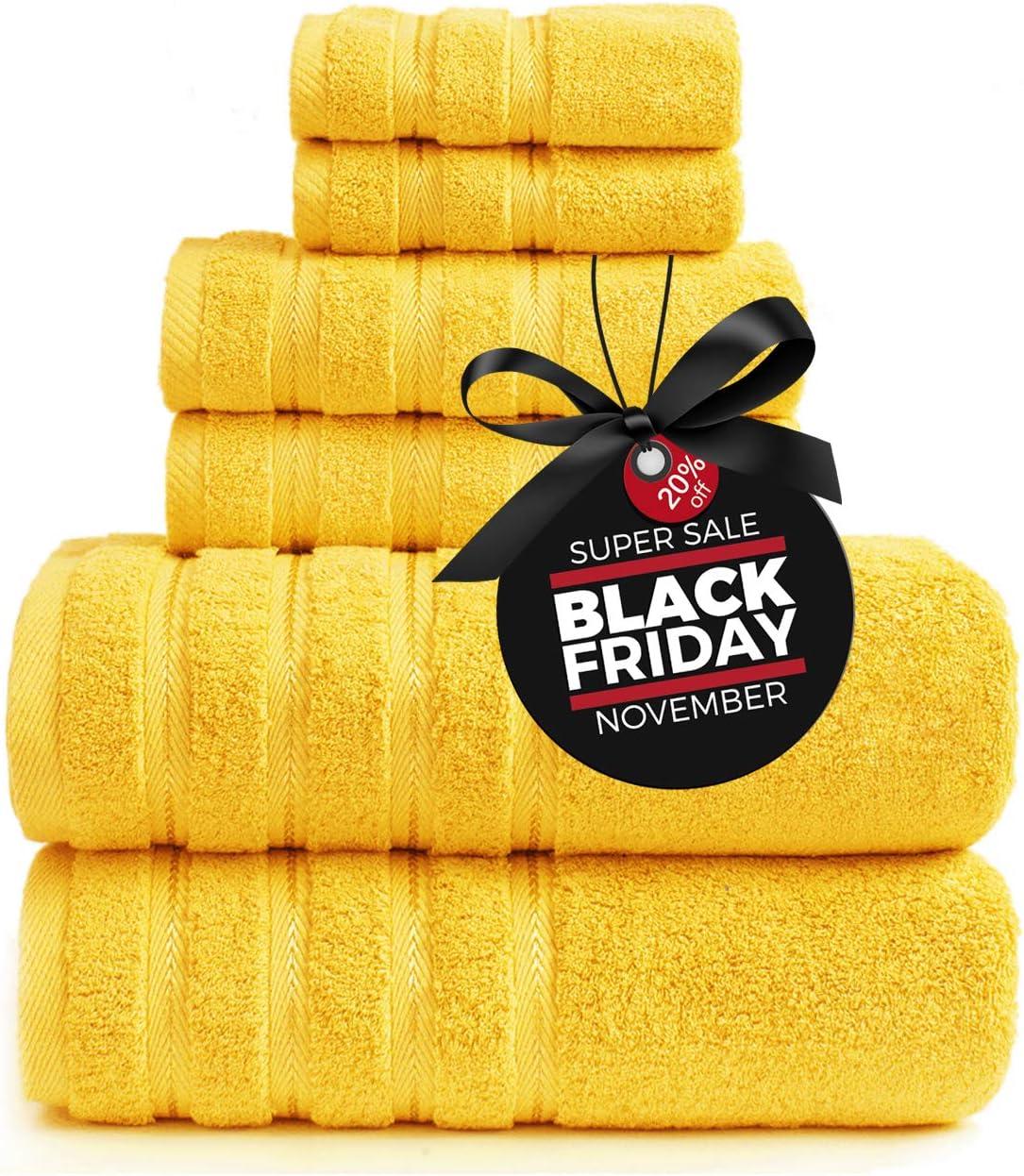 Sofi Towel 6 Piece Towel Set, Premium Luxury Hotel & Spa Quality, 100% Turkish Cotton Bathroom Towels, Super Soft, Highly Absorbent, 2 Bath Towels, 2 Hand Towels, 2 Washcloths,Yellow
