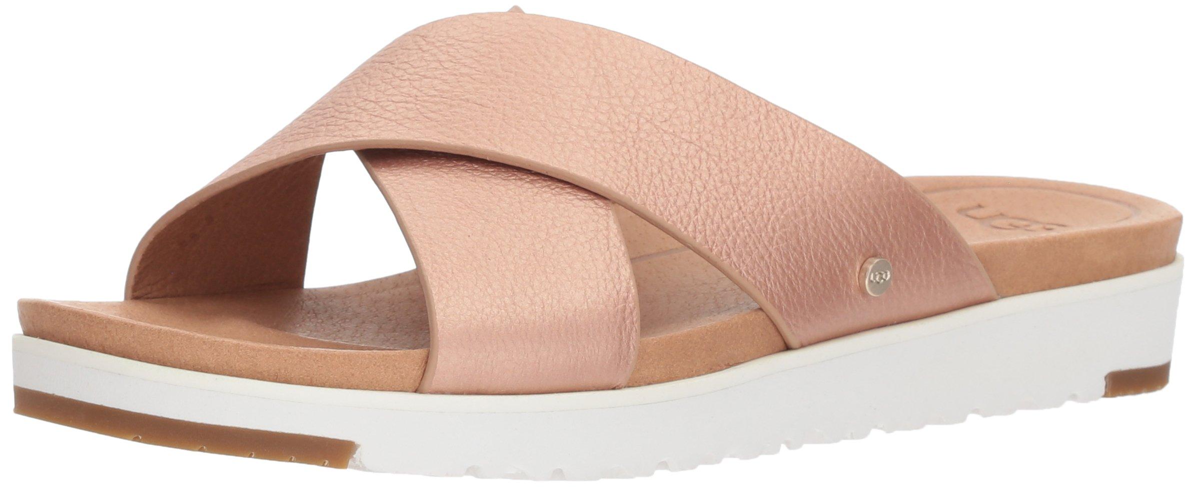 UGG Women's Kari Metallic Flat Sandal, Rose Gold, 8 M US