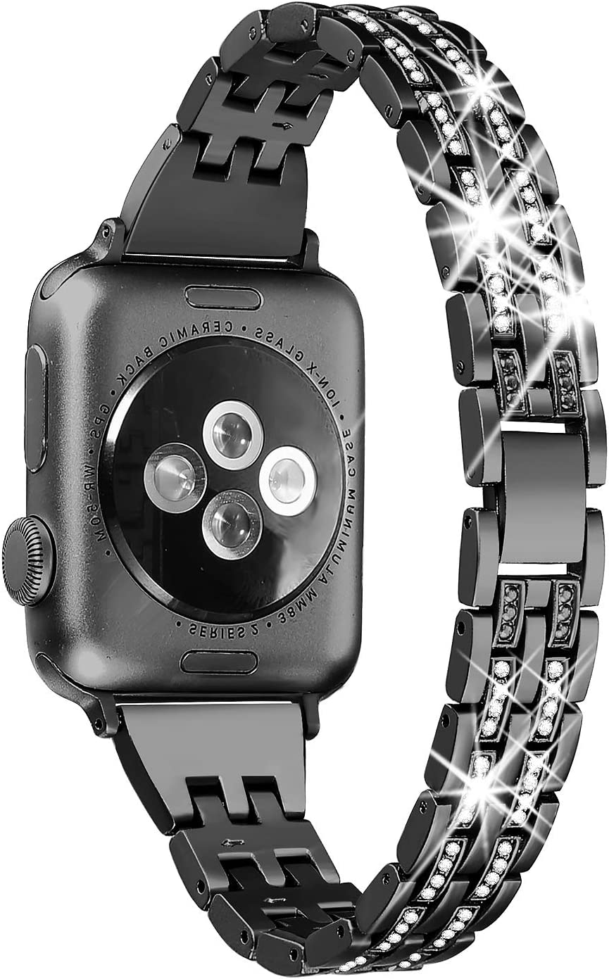 Secbolt Bling Bands Compatible Apple Watch Band 38mm 40mm Women iWatch Series 6 5 4 3 2 1 SE, Dressy Jewelry Metal Wristband Strap Diamond Rhinestone, Black