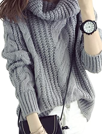 Sanifer Women Cowl Neck Cable Knit Warm Chunky Sweater Gray At