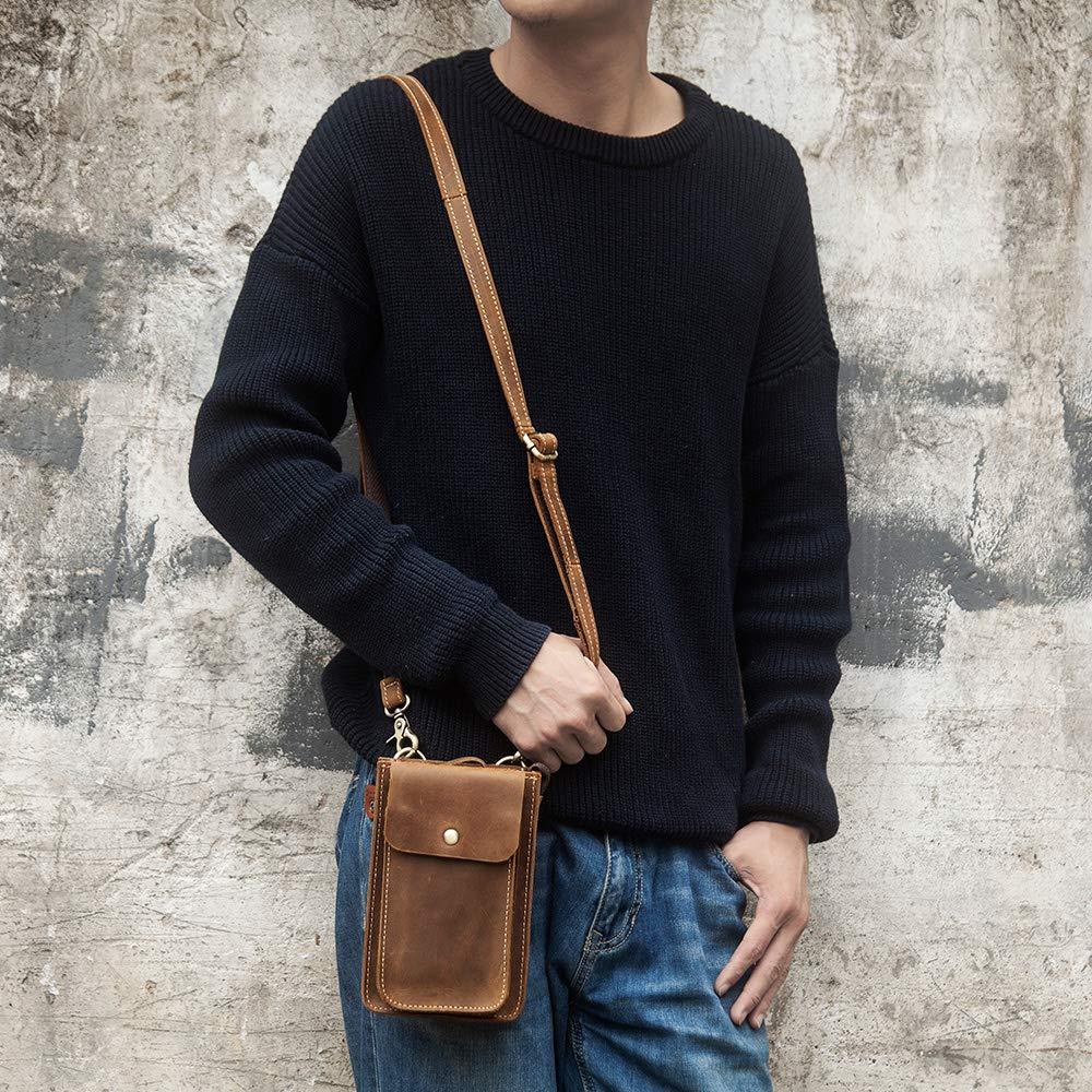 H-LongS.J Leather Mobile Phone Mens Pockets Travel Small Mini Wallet Retro Casual Shoulder Bag