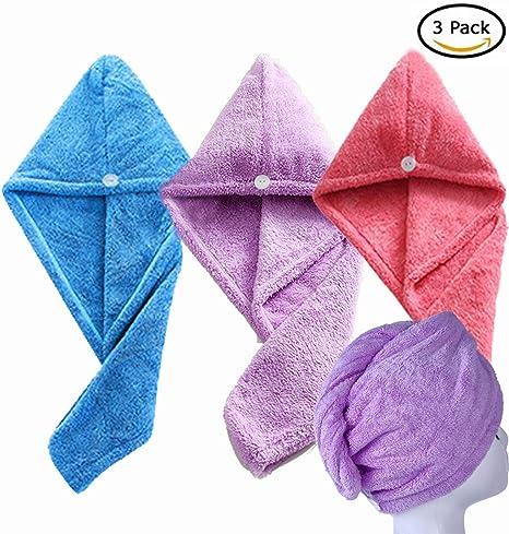 Angelias Shop - Toalla para secar el pelo con tapas para secar el pelo, toalla