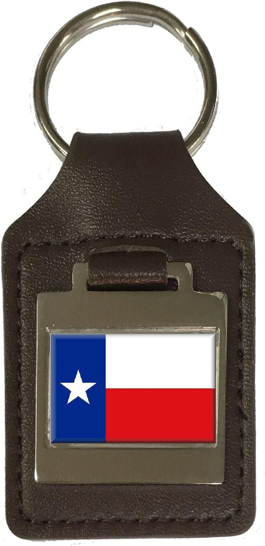 Leather Keyring Engraved Texas Flag