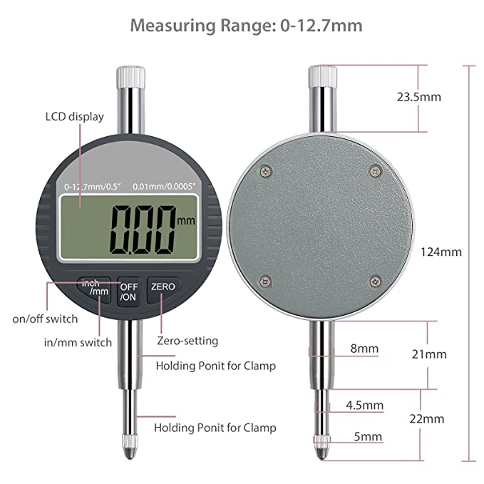 Neoteck DTI Indicador de Marcación Digital 0.01/.0005Indicador de Sonda Digital Indicador de Calibración Rango 0-12.7mm/ 1 Indicador de Prueba de Dial ...