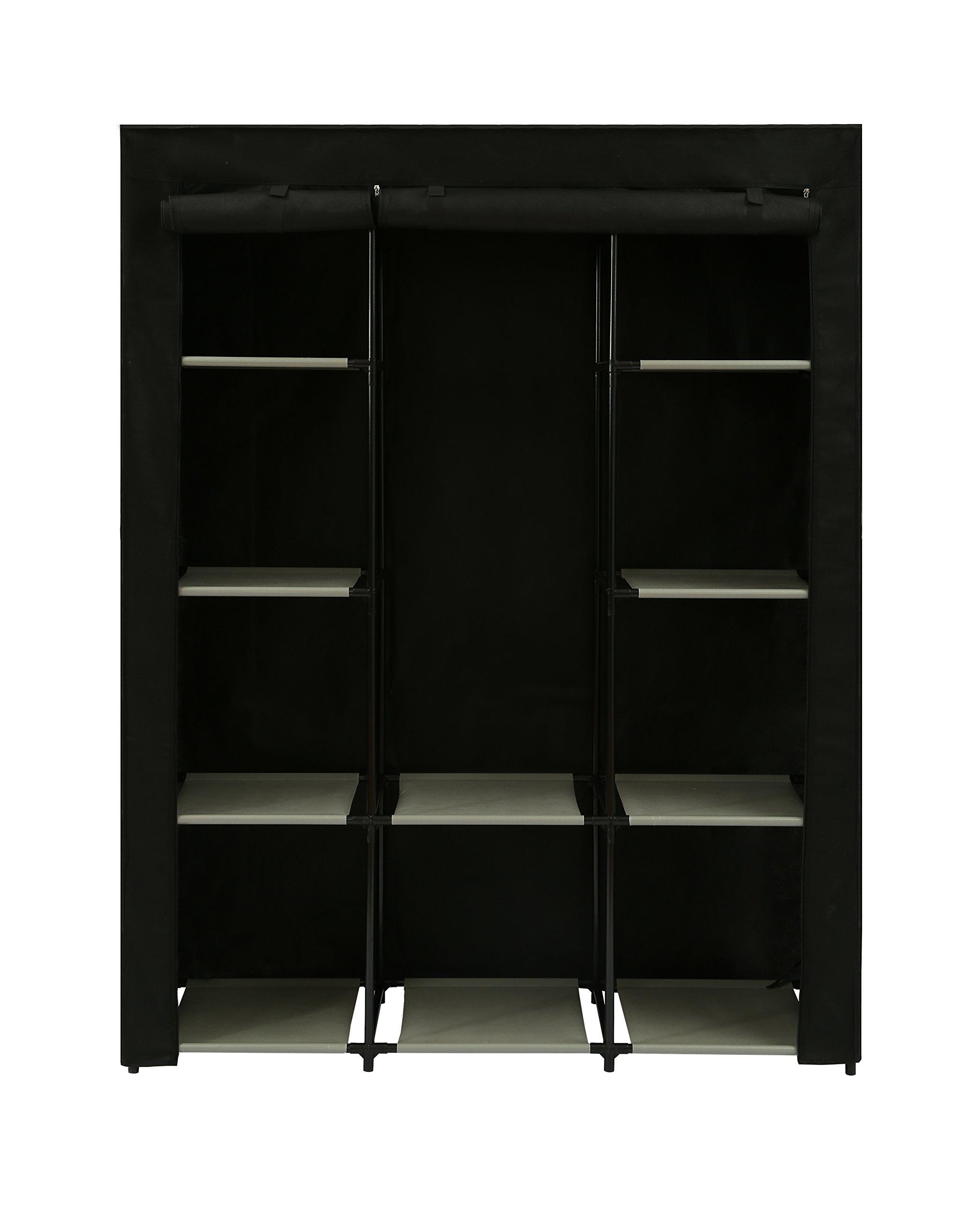 Home-Like Portable Wardrobe Bedroom Armoires Clothes Closet Non-Woven Fabric Wardrobe Storage Cabinet Clothes Storage Organizer 10 Closet Shelves Black Color 51.18''L x 17.71''W x 63.35''H (115B-Black)