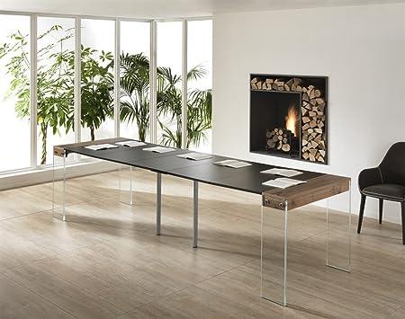 Consola mesa extensible de madera y cristal entrada salón comedor ...
