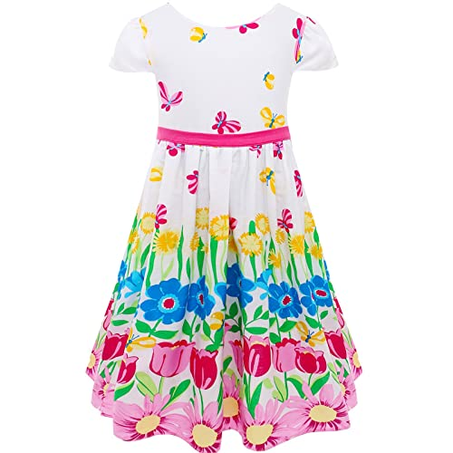 Bonny Billy Girls Short Sleeve Floral Print Cotton Casual Summer Skirt Dress