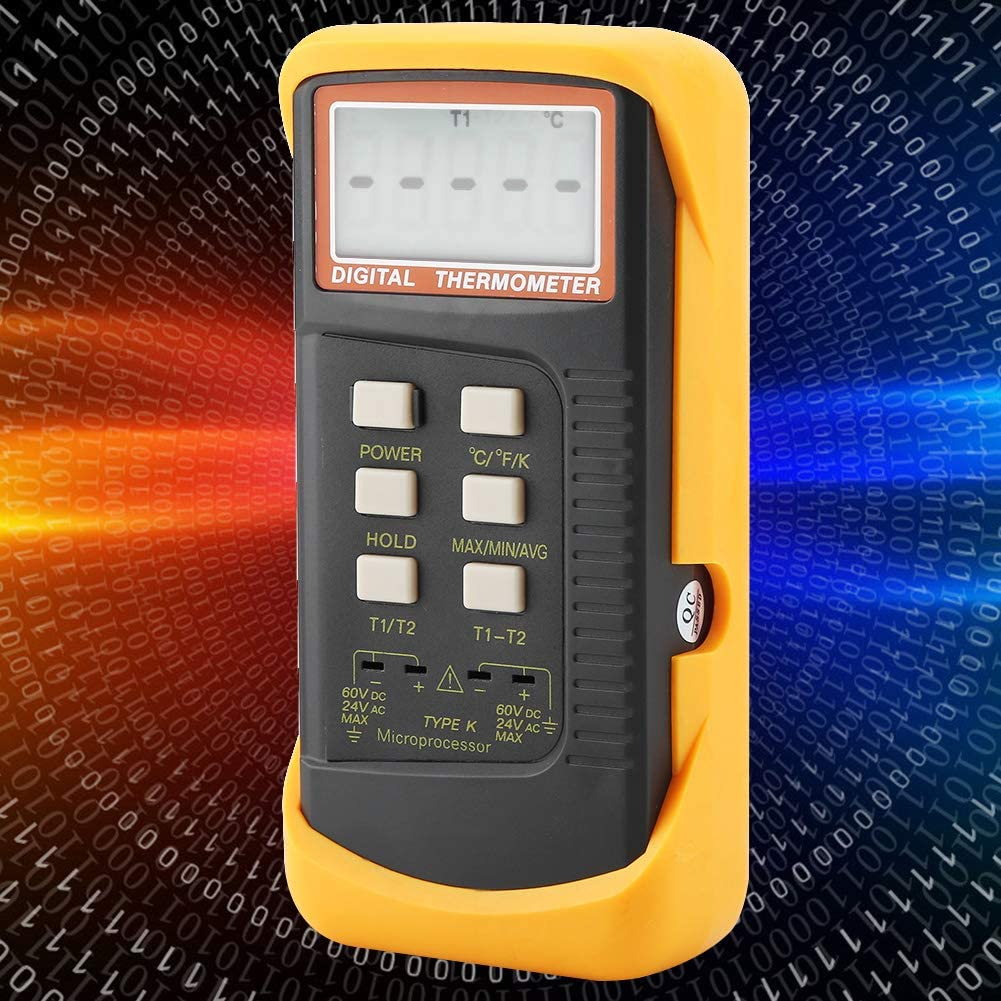 Fydun Digital Thermocouple Thermometer Meter LCD Dual Channel K Type 6802II Temperature Meter 50/°C-1300/°C