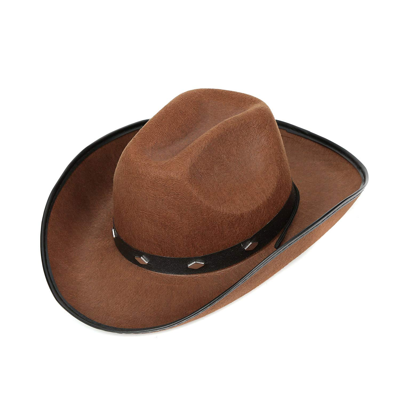 Fun Central AZ963, 1 Pc Brown Felt Studded Cowboy Hat, Cowboy Toy Hat Men, Western Cowboy Hat