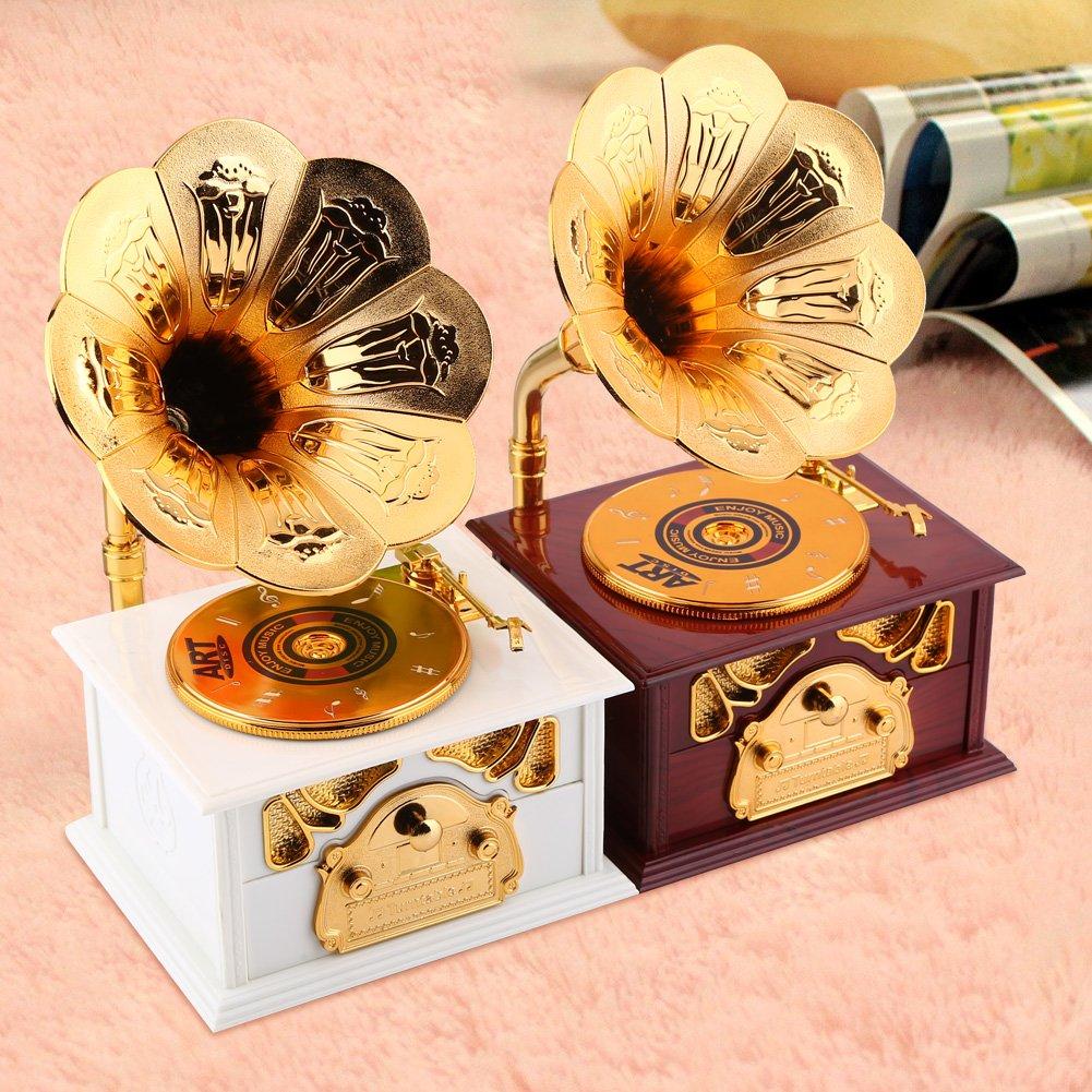 Hilitand Caja de M/úsica Blanco Forma de fon/ógrafo Retro Caja de M/úsica Regalo Cl/ásico Trompeta de Oro Cuerno Artes Creativas