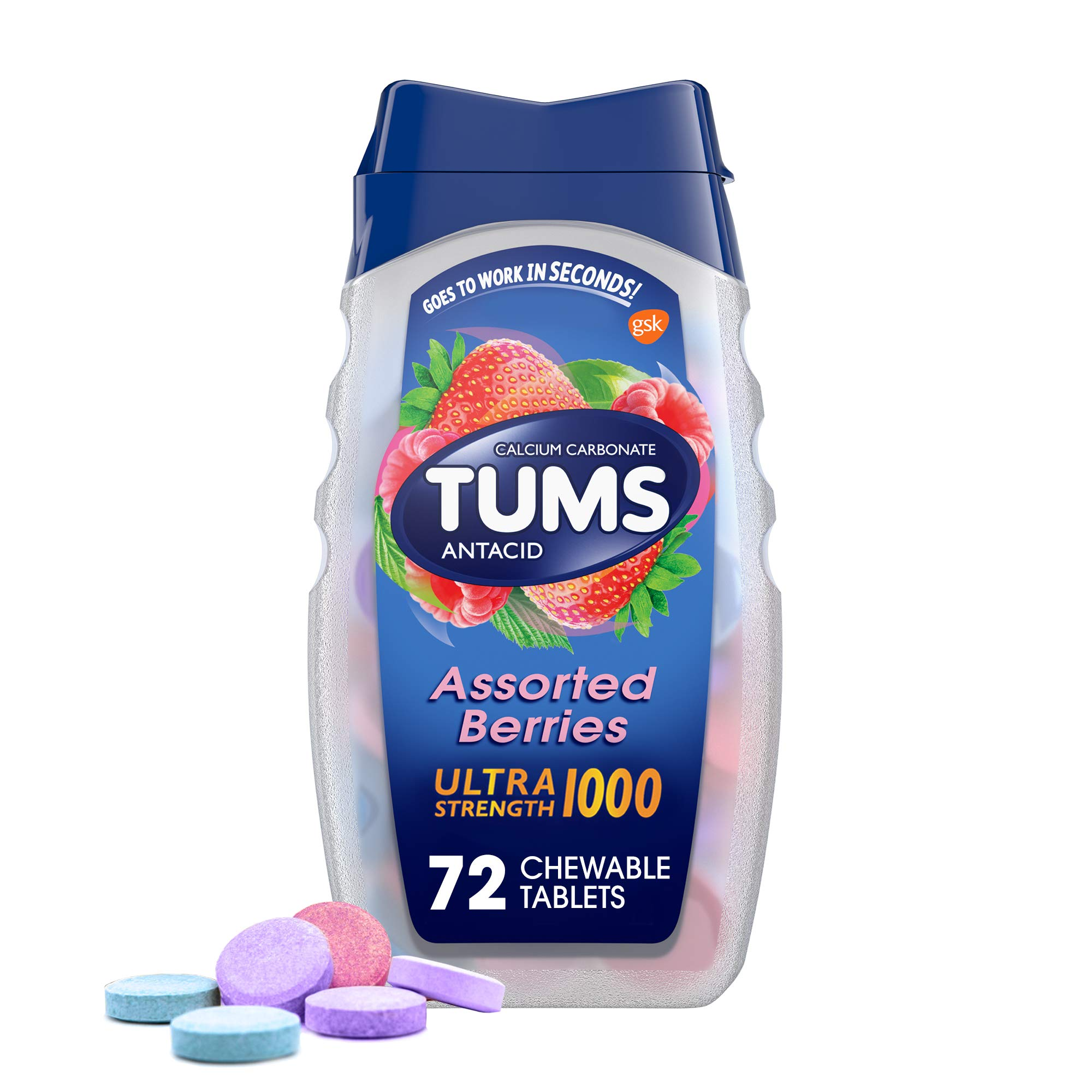 TUMS Ultra Strength Assorted Berries Antacid Chewable Tablets for Heartburn Relief, 72 count