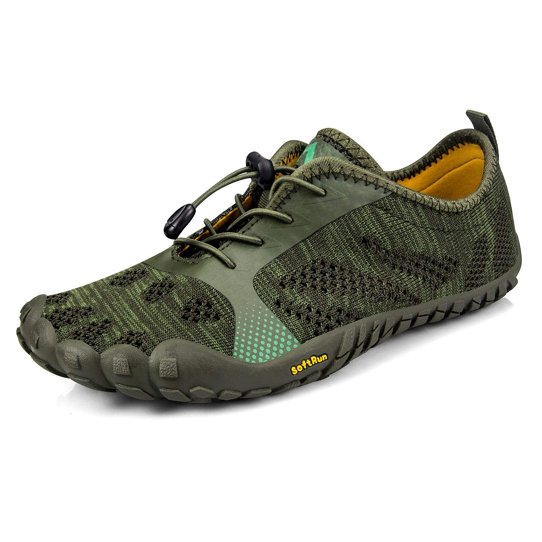 Troadlop Men's Minimalist Barefoot Shoes for Jogging Workout Trail Running Trekking Hiking Fitness Green6.5