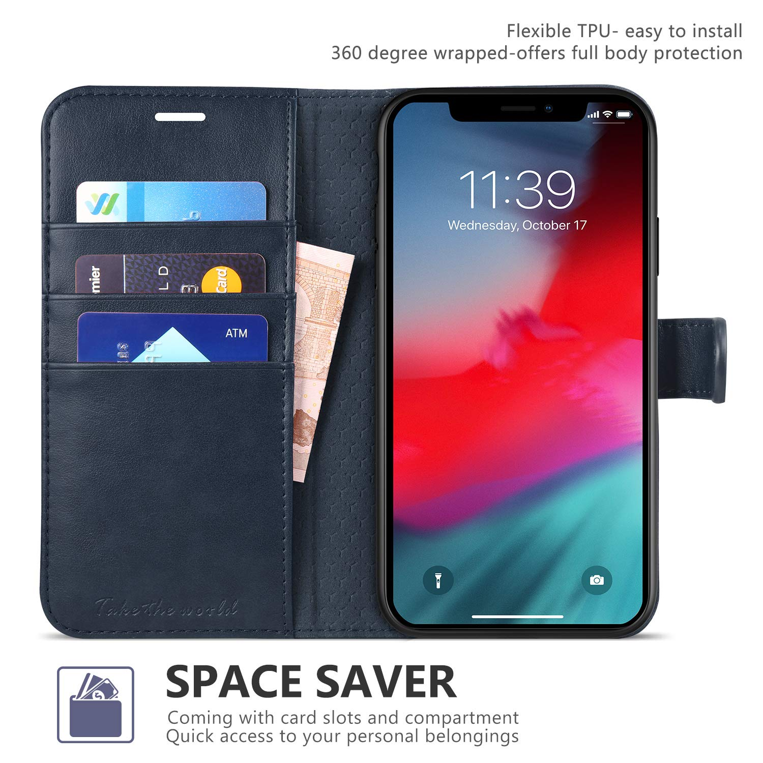 iPhone XR Case TUCCH RFID Wallet Case PU Leather iPhone XR Flip Cover with Credit Card Slot 6.1 inch 2018 Magnetic Clasp Closure Side Cash Pocket - Hot Pink Kickstand Compatible with iPhone XR