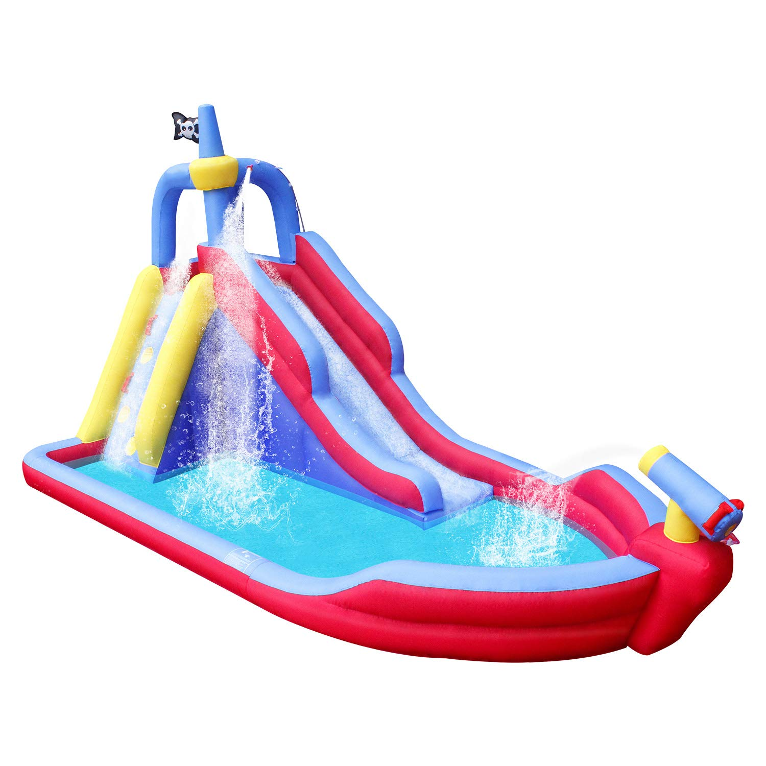 RETRO JUMP Inflatable Pirate Boat Bouncy Water Slide with Blower Climbing Wall Water Park for Kids