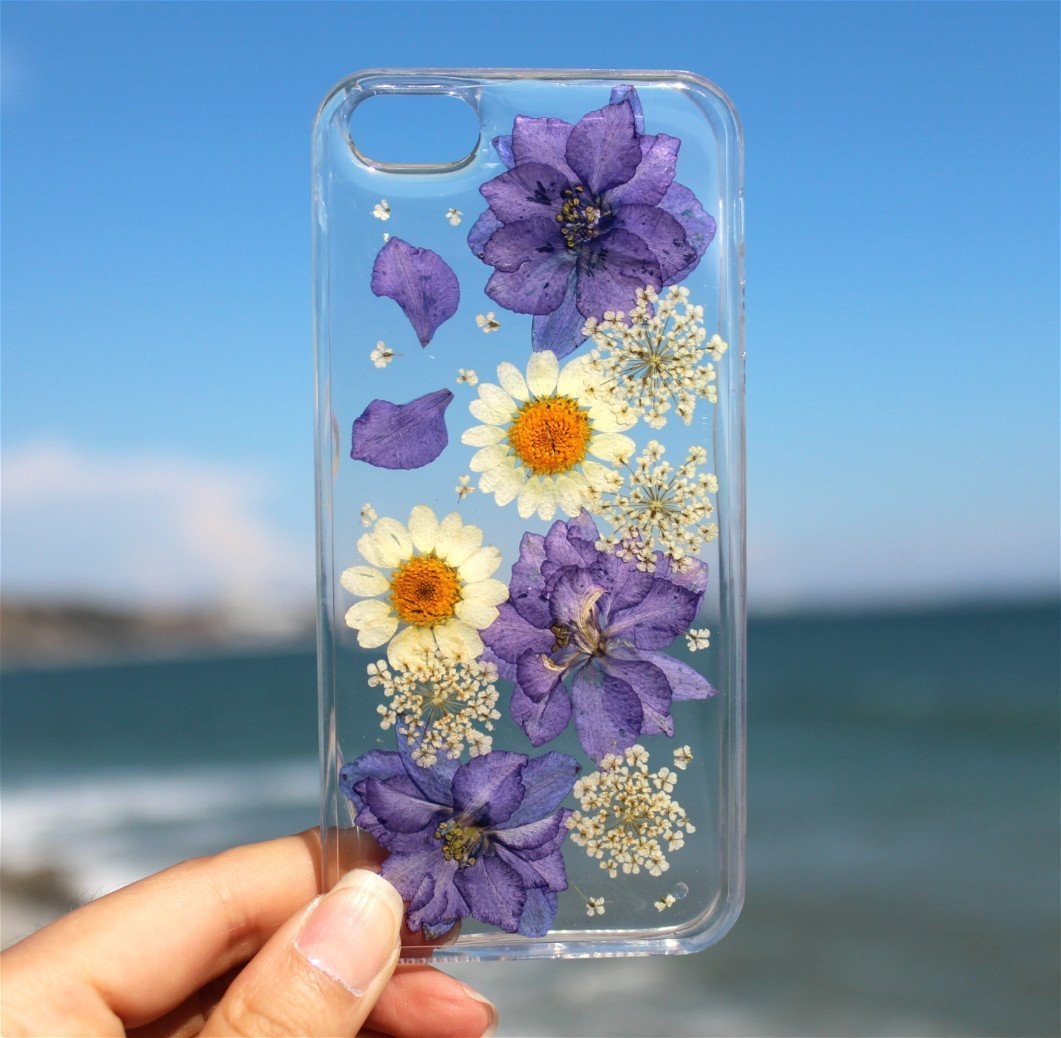Handmade Real Purple Flowers and White Daisies Blossom iPhone 6/6s, iPhone 7 & 8, 7 & 8 Plus, iPhone 10 (X), iPhone SE, iPhone 5/5S Floral Soft Clear Silicone Rubber Case Cover