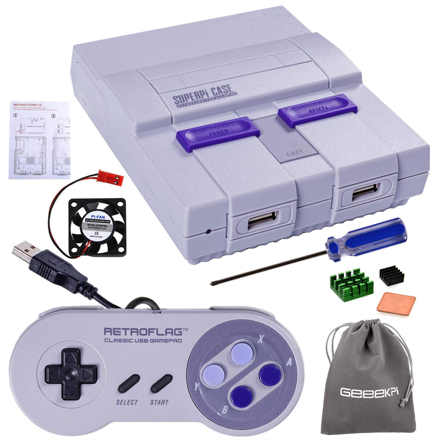 Retroflag SUPERPI CASE UCase NESPI CASE SNES Case with Functional Power  Button and Reset Button with Raspberry Pi Heatsink Fan Flannel Bag for