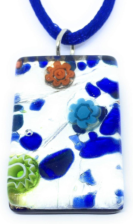 3 cm x 2 cm Incluye Caja de Regalo y Certificado Joyer/ía de Cristal de Murano Camilla Colgante de Cristal de Murano en Hoja de Plata