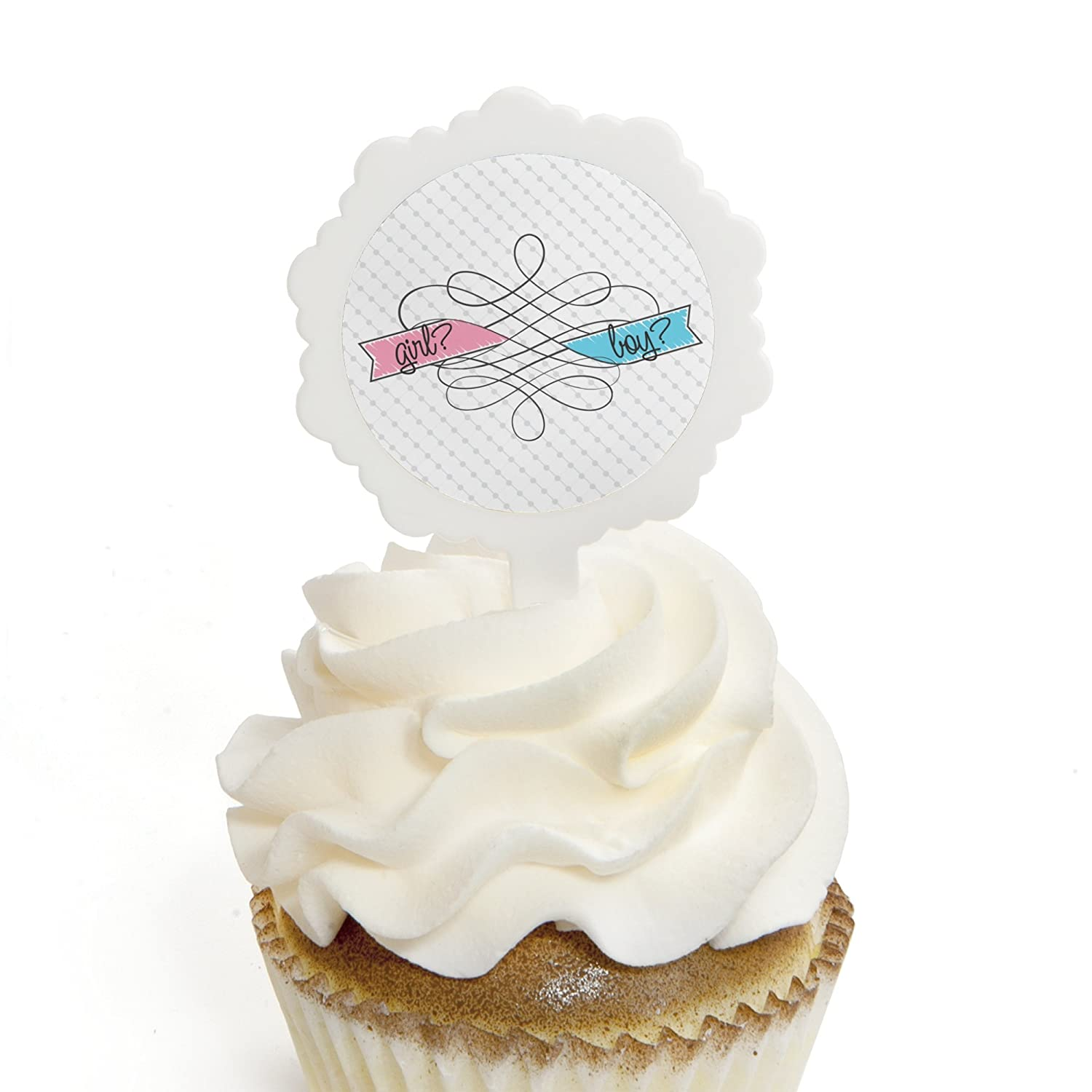 Amazon Baby Gender Reveal Cupcake Picks with Stickers