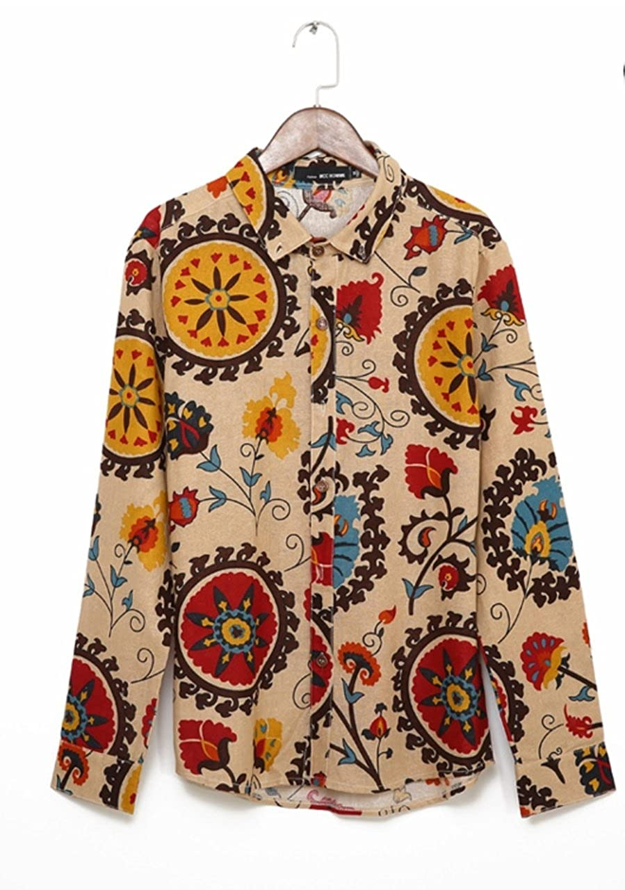 ten is heart Shirt Mens Long Sleeve Floral Casual Cool Designer Cotton Botanical