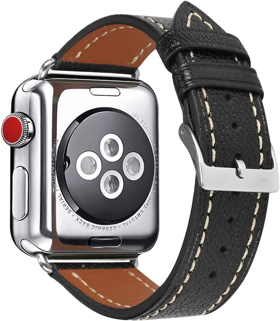 HUAFIY Compatible apple Watch Band 38mm 40mm woman , Top Grain Leather Band Replacement Strap iWatch Series 6/ 5/ 4/ 3/2/1,SE,Sport, Edition (black sheepskin band +silver buckle, 38mm40mm)