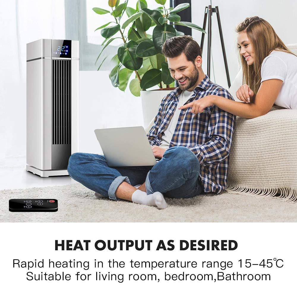 Space Heater With Remote Control,LCD Ceramic Tower Heater 120 Oscillating 1500W Fast Heating Electric Heater With Thermostat 12H Programmable Timer 3 modes Air Conditioner For Living Room Bathroom
