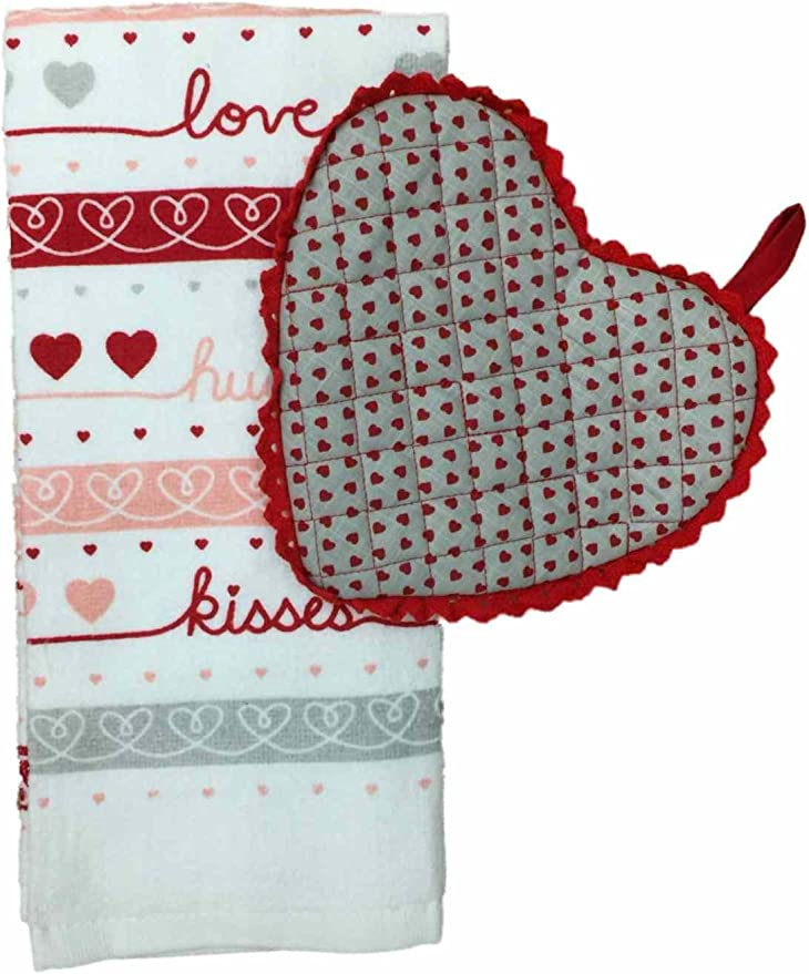 Kitchen and Bath 100/% Cotton Dishtowels with Dobby Striped Stitched Hearts HUNTGIRL GIFTS Valentines Heart Towel and Magnet Set for Home