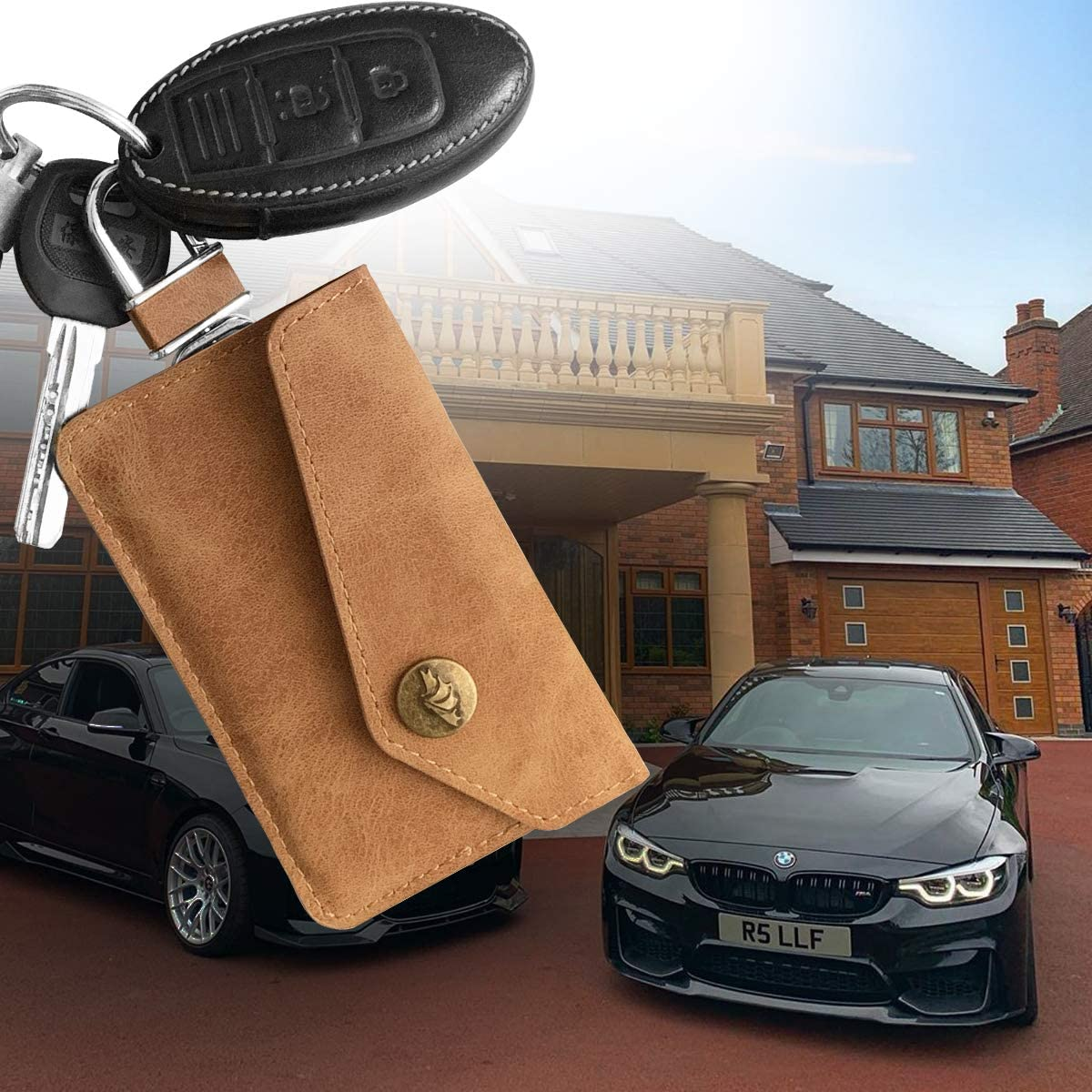 RFID Key Signal Blocking Pouch with Hook Securing Chain MONOJOY 2 Pack faraday pouch Faraday Bag for Keyless Cars| Car Key Signal Blocker Pouch Brown