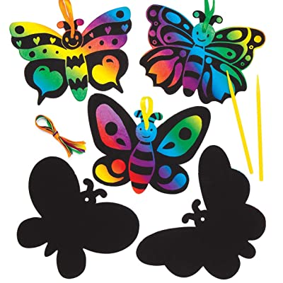 Baker Ross Ltd Butterfly Scratch Art Magnets (Pack of 10) AW403, Rainbow Scratch Paper with Stylus for Kids to Decorate in Arts and Crafts: Toys & Games
