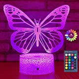 Butterfly Night Light, Birthday Gift for Girls 3D Illusion Lamp Kids Bedside Lamp with 16 Colors Changing Remote Control…