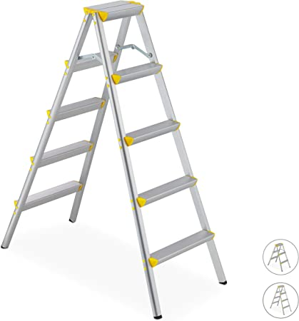 Relaxdays Escalera Plegable Aluminio, Escalerilla Tijera Doméstica, hasta 150 kg, 5 Peldaños, Plateado y Amarillo: Amazon.es: Hogar