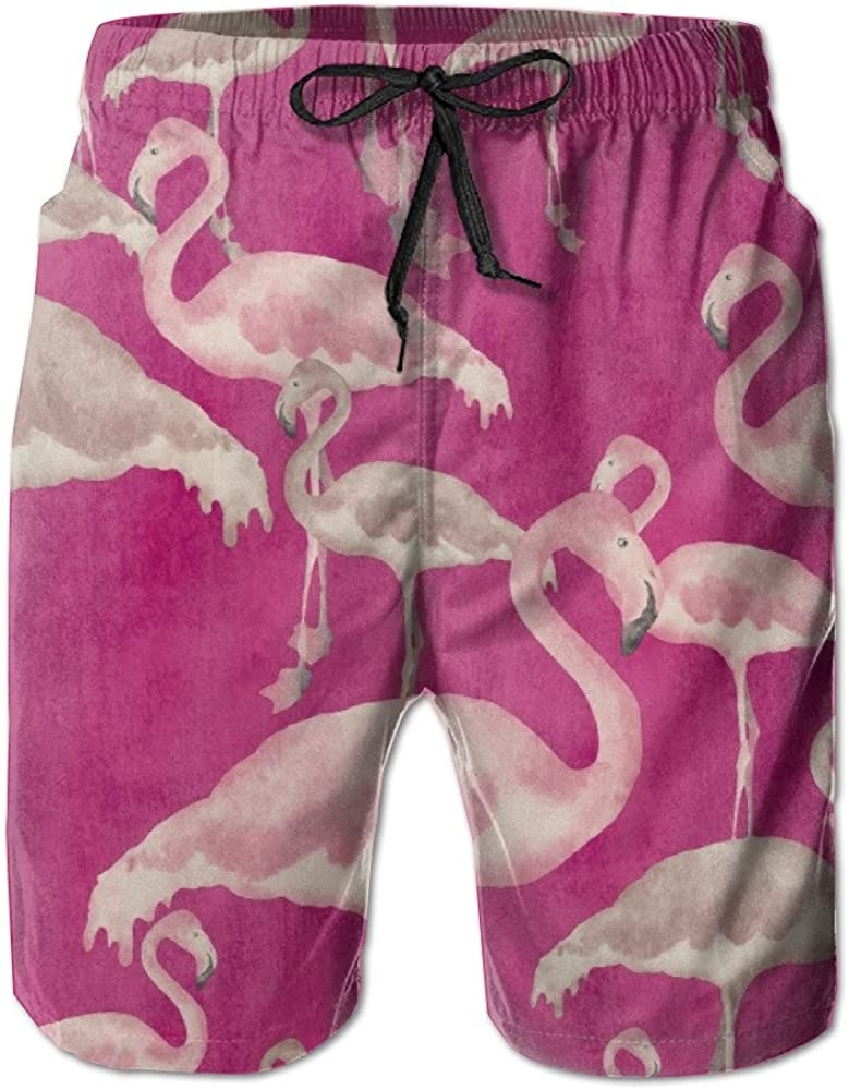 Mens Swim Trunks Flamingos Convenient Cargo Shorts