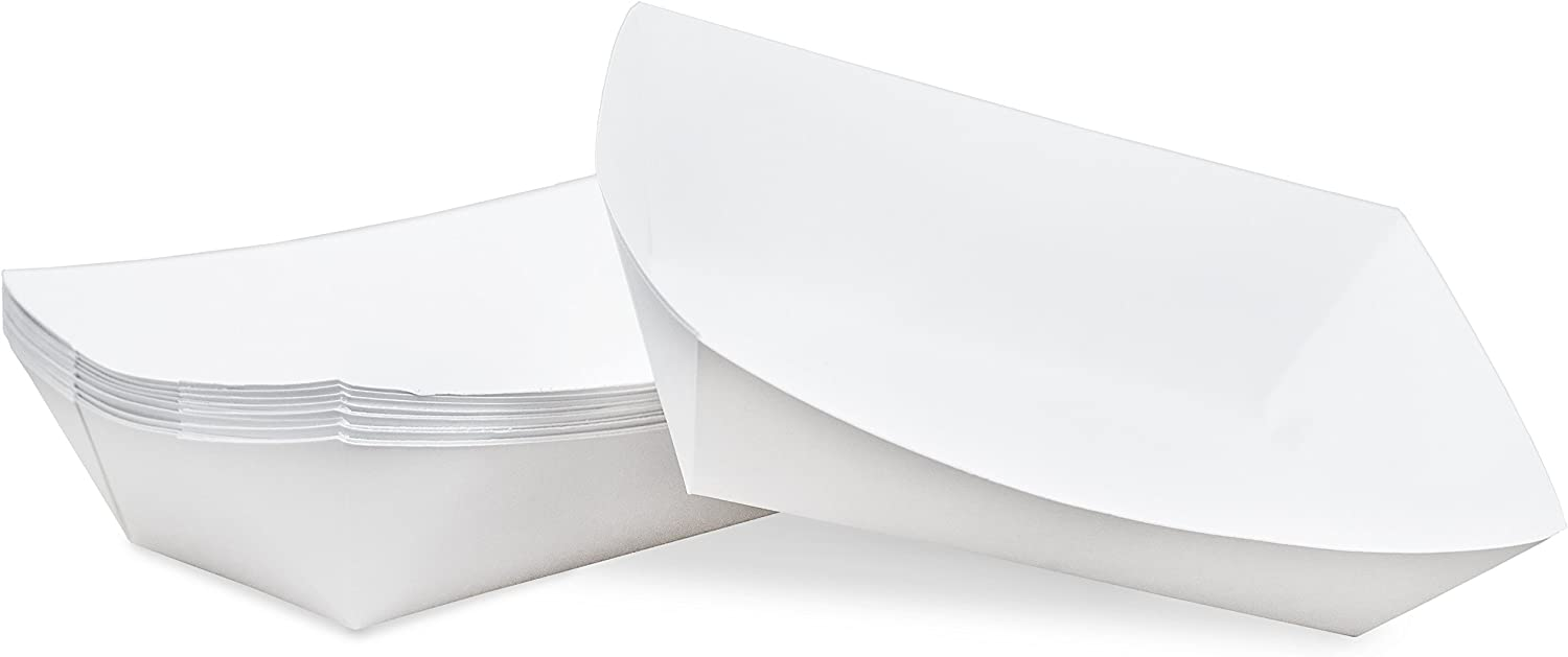 3 lb White Disposable Paper Food Tray for Carnivals, Fairs, Festivals, Concession Stands, Food Trucks (White - large 3 lb, 50 pack)