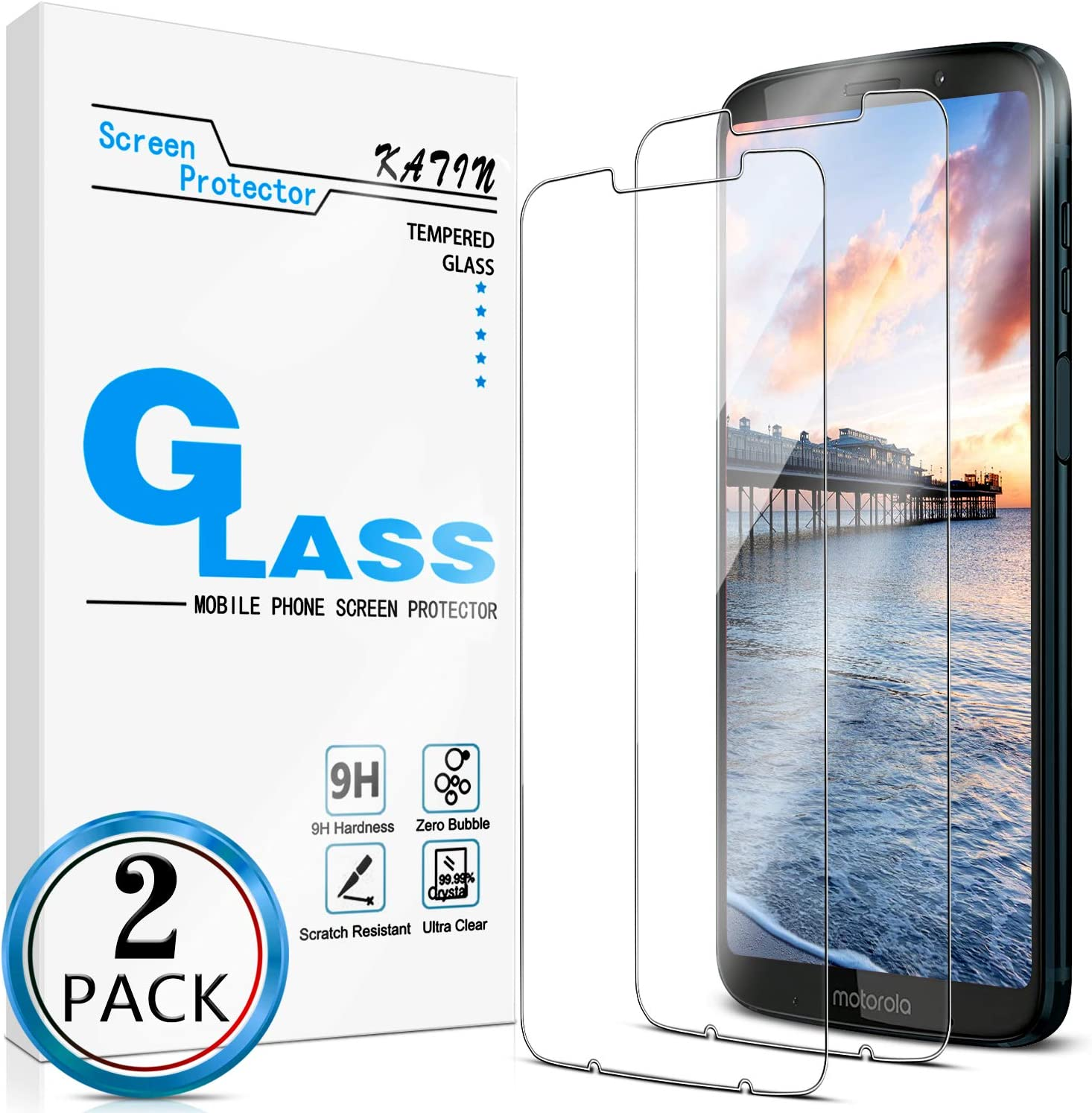 KATIN Moto Z3 Screen Protector - [2-Pack] for Motorola Moto Z3 Play/Moto Z3 Tempered Glass No-Bubble, 9H Hardness, Easy to Install