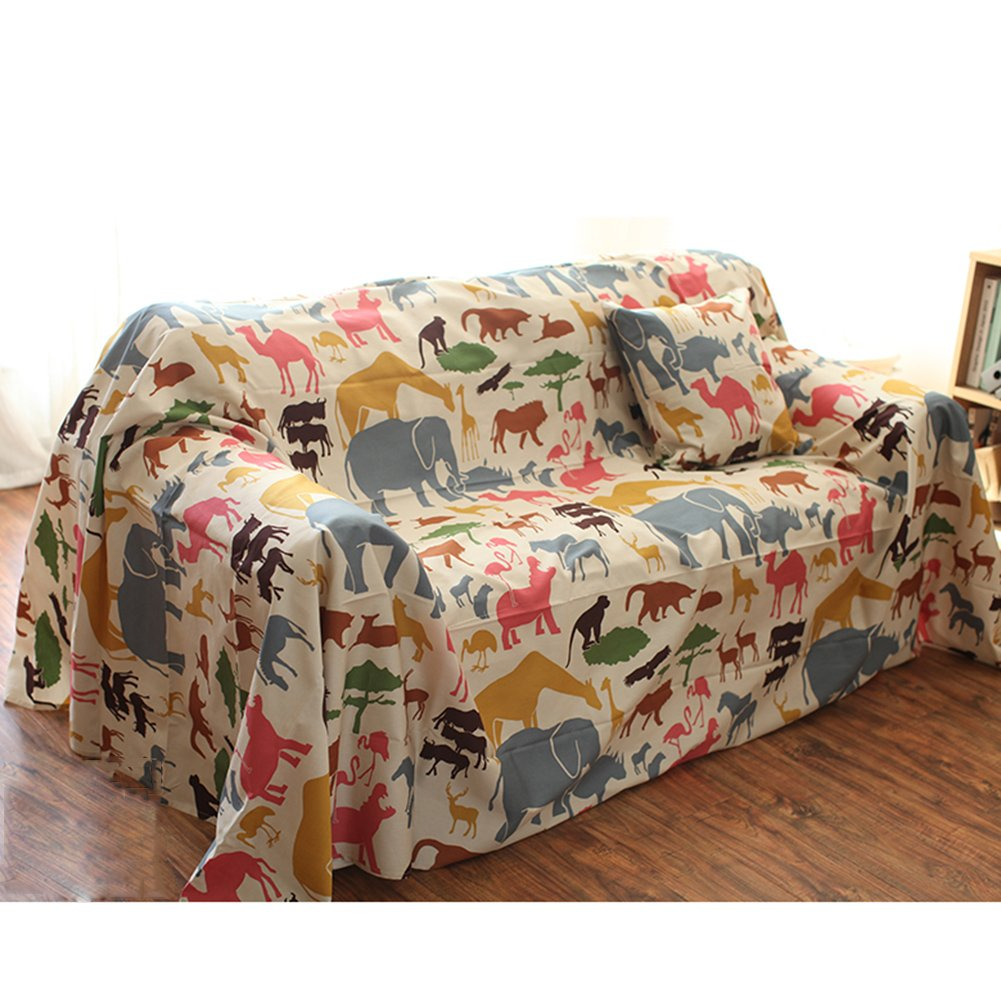 HM&DX Cotton Sofa cover Slipcover,1-piece Animals pattern Couch cover Anti-slip Stain resistant Furniture protector For 1 2 3 4 seat-A 185x280cm(73x110in)