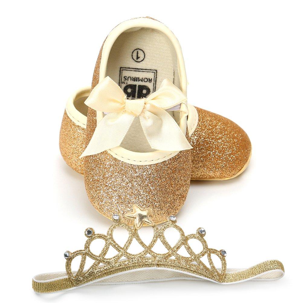EDOTON Baby Mädchen Schuhe mit Krone Haarband Bowknot Pailletten Lauflernschuhe Anti-Rutsch-Weiche Taufe Prinzessin Schuhe Sneaker für Kleinkind