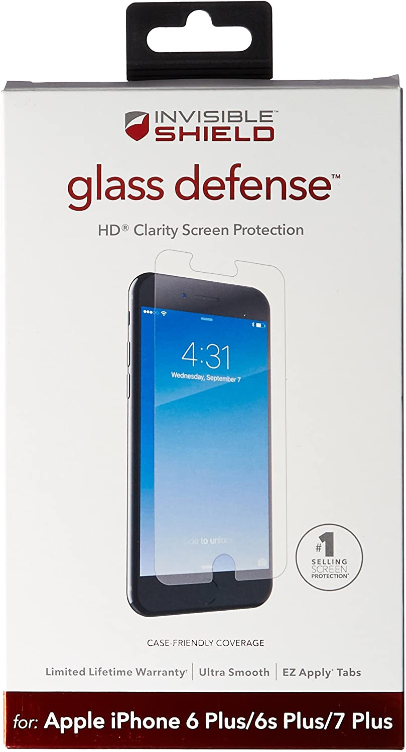 ZAGG InvisibleShield Glass Defense Screen Protector for Apple iPhone 8 Plus, iPhone 7 Plus, iPhone 6s Plus / 6 Plus - Clear