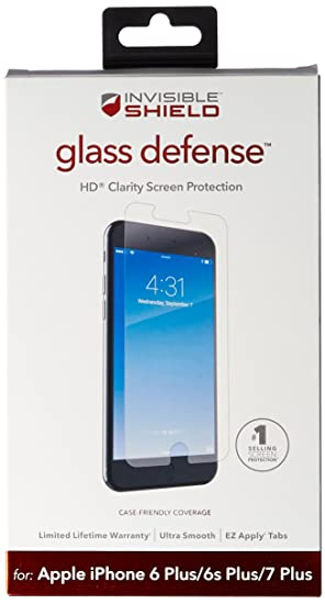 low priced bb7c9 6681f ZAGG InvisibleShield Glass Defense – Screen Protector for Apple iPhone 8  Plus, iPhone 7 Plus, iPhone 6s Plus / 6 Plus - Clear